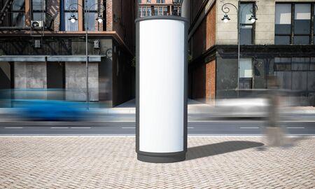 Street advertising billboard mockup at city 3d rendering