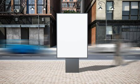 Street advertising sign billboard mockup at city 3d rendering
