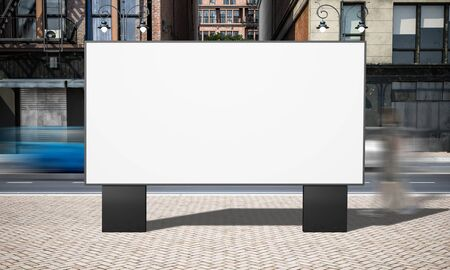 Street advertising horizontal billboard mockup at city 3d rendering 写真素材