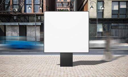 Street advertising square billboard mockup at city 3d rendering 写真素材
