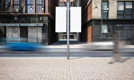 Street advertising lamppost mockup at city 3d rendering
