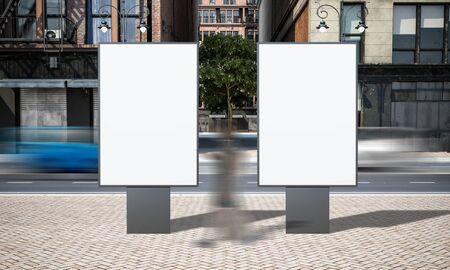 Street advertising two sign billboard mockup at city 3d rendering