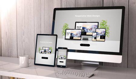 Cyfrowo generowane urządzenia na pulpicie, responsywny fajny projekt strony internetowej na ekranie. Wszystkie grafiki ekranowe są zmyślone. renderowania 3D. Zdjęcie Seryjne