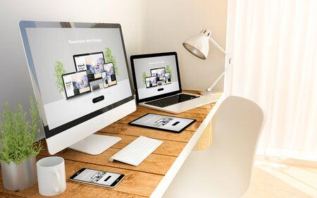 Dispositivos generados digitalmente sobre una mesa de madera con concepto sensible al sitio web.