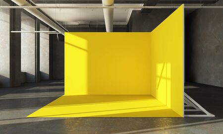 yellow pop up on interior hall 3d rendering