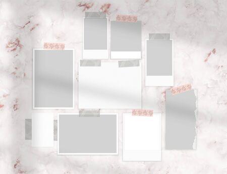 moodboard mock up on marble wall 3d rendering Stock fotó