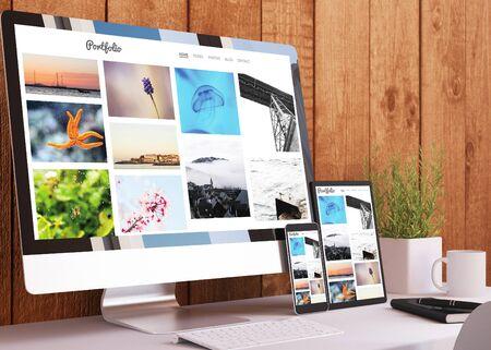 dispositivos sensibles en la representación 3d del sitio web de la cartera del estudio de madera