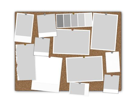 Moodboard Kork Mock-up isoliert, 3D-Rendering Standard-Bild