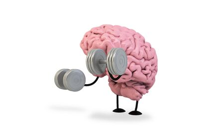 isolated brain doing fitness 3d rendering Foto de archivo - 134457956