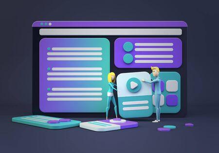 cartoon businesspeople designing a website 3d rendering