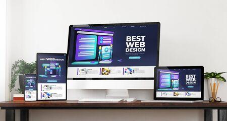 appareils de vue de face meilleur rendu 3d de conception de sites Web