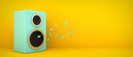 blue speaker on yellow background 3d rendering