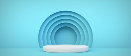 blue podium with circles background 3d rendering