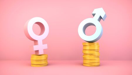 Earnings gender gap concept on pink
