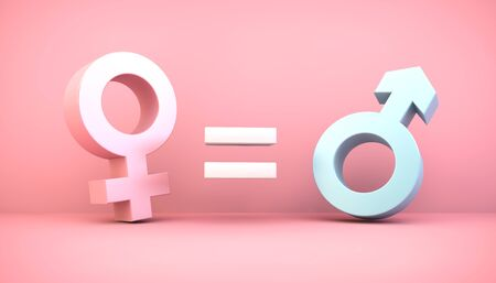 Gender equity concept on pink