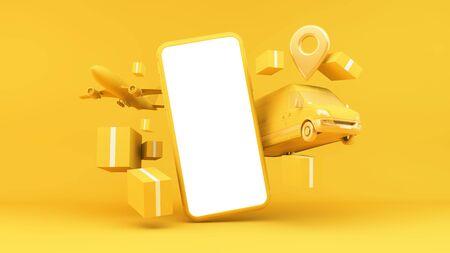 Online shop delivery concept 3d rendering