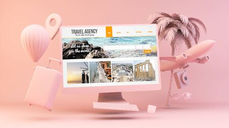 Minimal pink computer with travel agency on screen 3d rendering Banque d'images