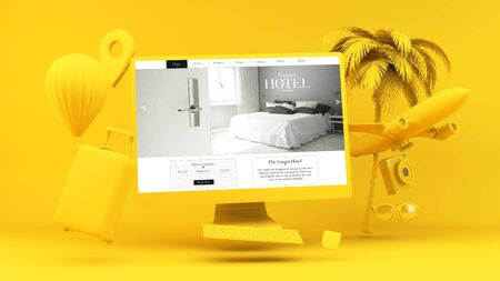 Yellow computer with hotel website 3d rendering concept