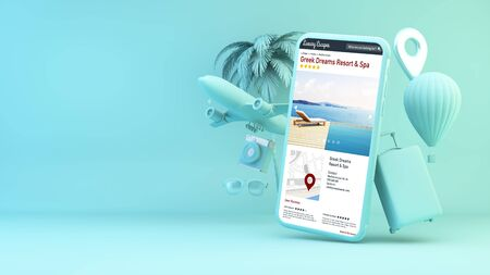 Blue smartphone with travel objects and hotel directory website 3d rendering