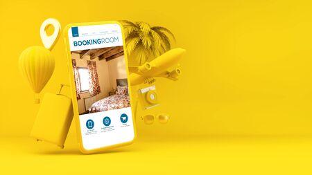 Yellow smartphone with booking room app 3d rendering
