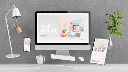 Floating devices on desktop showing web design website 3d rendering