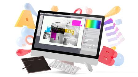 Graphic design concept mock up 3d rendering