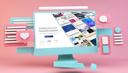 Interface design concept 3d rendering