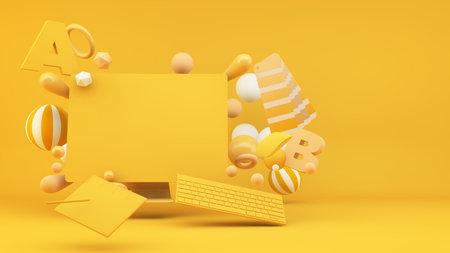 Graphic design concept 3d rendering