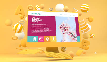 Graphic Web design computer mock up 3d rendering