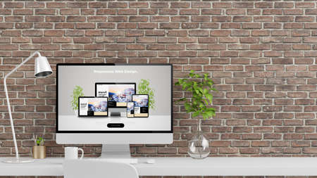 desktop workspace with web design computer mockup