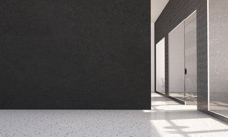 Black wall at office 3d rendering art mock up