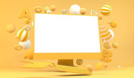 Graphic design computer mock up 3d rendering 版權商用圖片