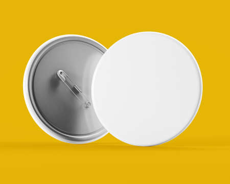 Pin badge mock up on yellow background 3d rendering Stock Photo
