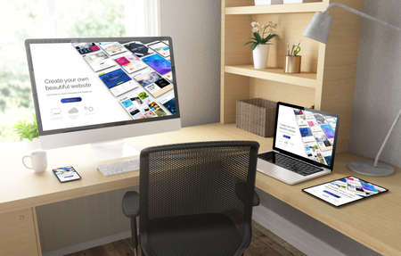 Home office with responsive devices mock up 3d rendering