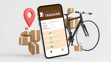 Package tracking app mock up 3d rendering Stock Photo