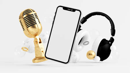 Phone mock up surrounded by microphone and headphones 3d rendering