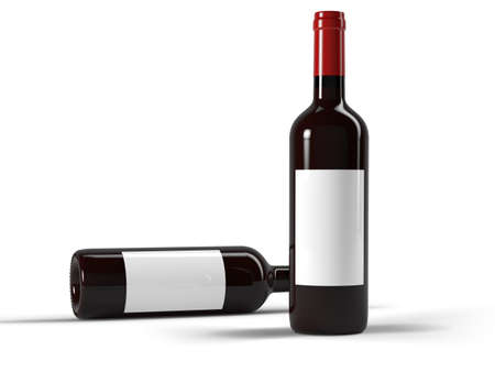 Two wine bottles on red background 3d rendering