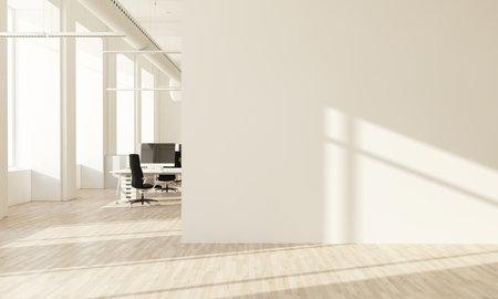 Interior wall mural art office 3d rendering Stockfoto