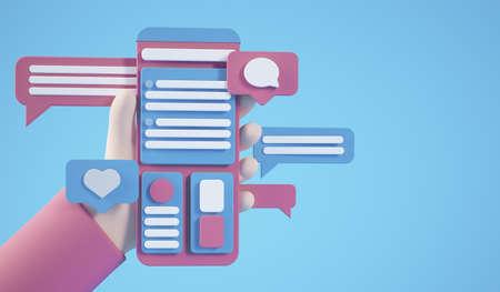 Cartoon hands holding interface concept smartphone 3d rendering