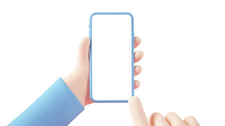 Cartoon hand with smartphone 3d rendering isolated