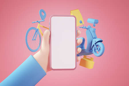 Shopping food online app concept 3d rendering