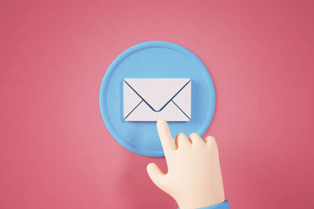 Mail contact button concept 3d rendering Stockfoto