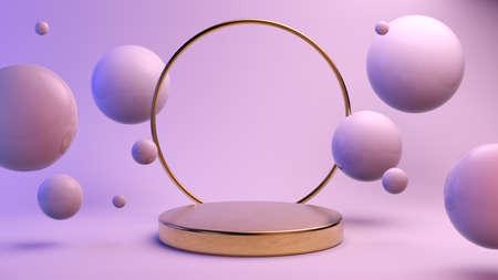 Minimal golden platform for product presentation mock up