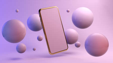 Golden mobile surrounded by reflective bubbles mock up 3d rendering Stockfoto