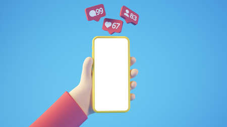 Cartoon hand with smartphone and social media notifications 3d rendering isolated