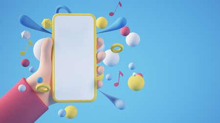 Cartoon hands holding yellow blank smartphone 3d rendering