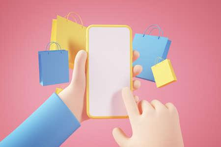 Shopping online app concept 3d rendering
