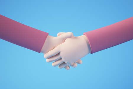 Cartoon hand shake 3d rendering concept