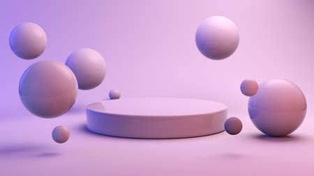 Floating spheres with podium 3d rendering Stockfoto