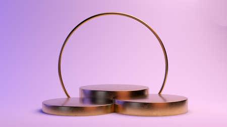 minimal golden platform for product presentation 3d rendering